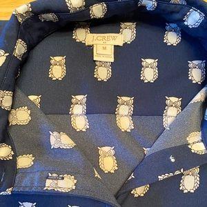J. Crew owl-print button-down blouse, size M